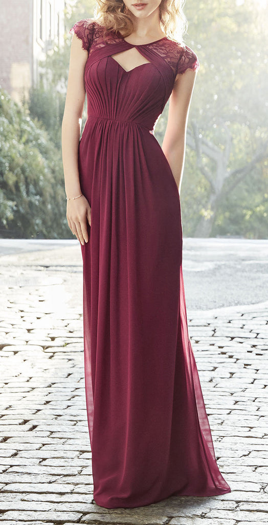 MACloth Women Strapless Lace up Short Bridesmaid Dress Cocktail Party Gown (EU40, Burgundy)
