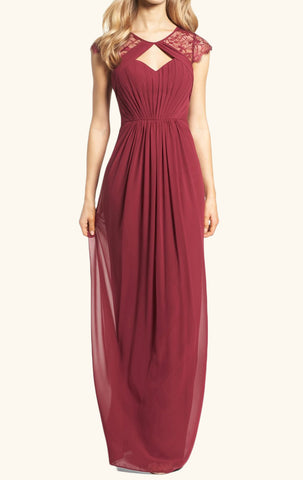 MACloth Cap Sleeves Lace Chiffon Long Bridesmaid Dress Burgundy Formal Gown