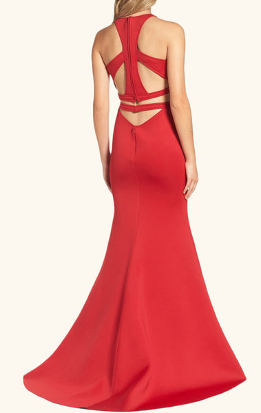 MACloth Mermaid 2 Piece Jersey Long Prom Dress Red Evening Gown