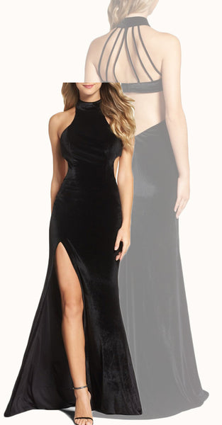 MACloth Mermaid High Neck Velvet Long Prom Dress Black Evening Gown