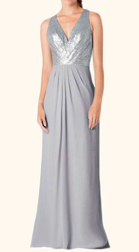 MACloth Straps V neck Chiffon Sequin Long Bridesmaid Dress Silver Formal Gown