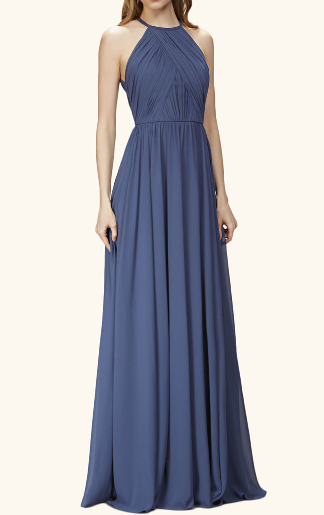 f6196e95b86a MACloth Halter O Neck Chiffon Long Bridesmaid Dress Navy Formal ...