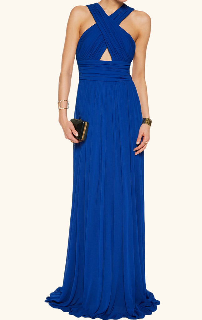 MACloth V Neck Sexy Royal Blue Evening Gown Long Chiffon Formal Gown