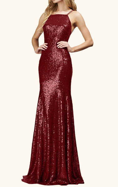 MACloth Halter Sequin Long Bridesmaid Dress Burgundy Formal Evening Gown