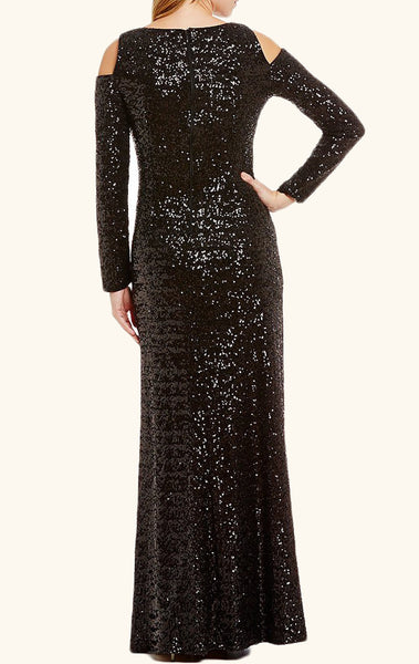 MACloth Long Sleeves Sequin Formal Evening Gown Black Prom Dress