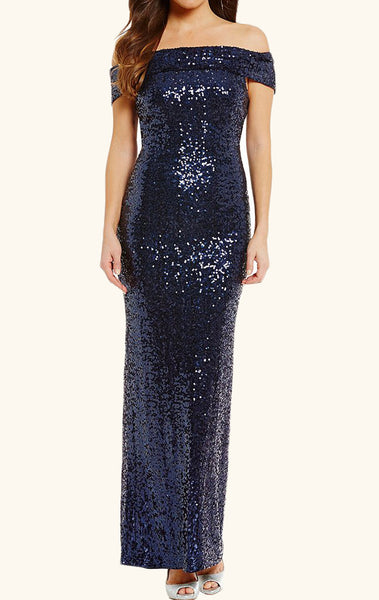 MACloth Off the Shoulder Sequin Evening Gown Dark Navy Formal Prom Dress