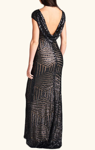 MACloth Cap Sleeves Sequin Long Bridesmaid Dress Black/ Rose Gold Formal Evening Gown