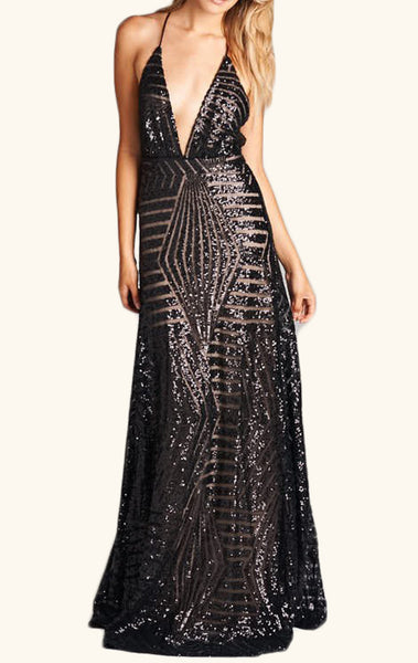 MACloth Deep V Neck Sequin Formal Evening Gown Black Long Prom Dress