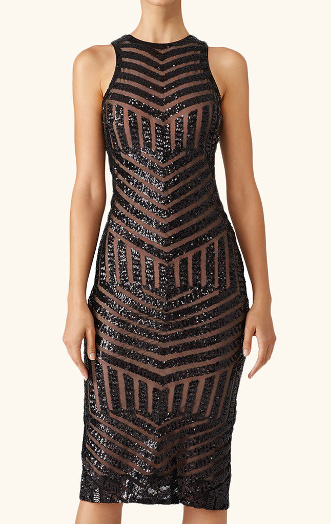 MACloth Sheath O Neck Sequin Midi Cocktail Dress Little Black Dress