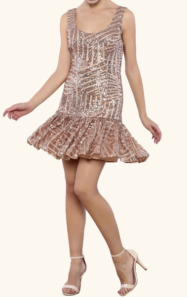 MACloth Scoop Neck Sequin Cocktail Dress Short Rose Gold Bridesmaid Dress