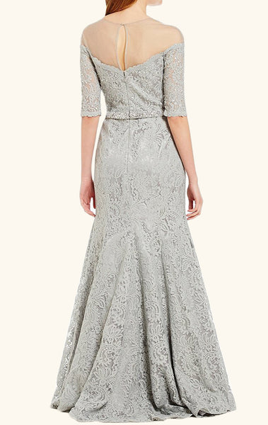 MACloth Meremaid Off the Shoulder Lace Evening Gown Silver Mother of the Brides Dress
