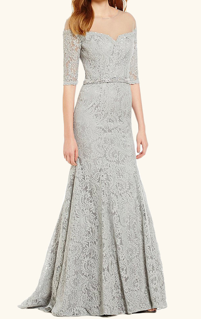 MACloth Meremaid Off the Shoulder Lace Evening Gown Silver Wedding Dress