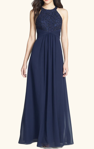 MACloth Halter Lace Chiffon Long Bridesmaid Dress Dark Navy Prom Formal Gown