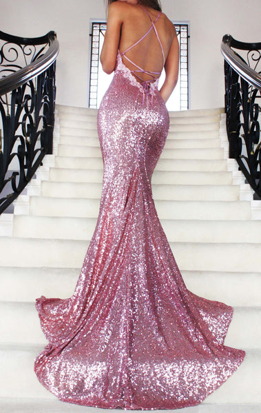 MACloth Mermaid V Neck Sequin Long Prom Dress Pink Formal Evening Gown