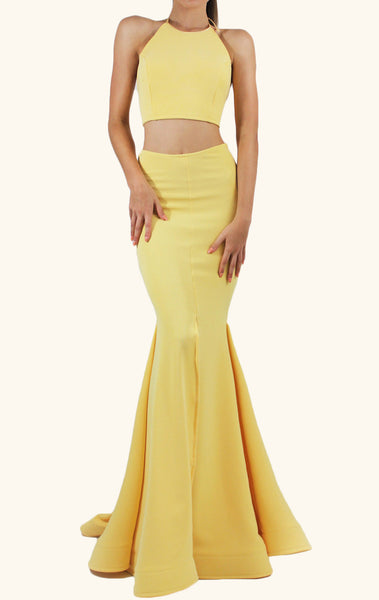MACloth Mermaid Two Piece Jersey Prom Dress Yellow Formal Evening Gown