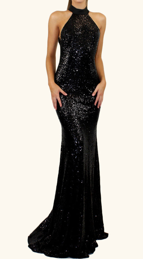 MACloth Mermaid Halter Sequin Long Prom Dress Black Formal Evening Gown