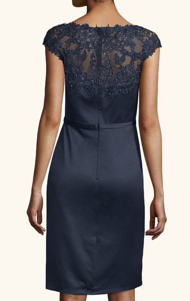 MACloth Cap Sleeves Lace Satin Cocktail Dress Dark Navy Mother of the Brides Dress