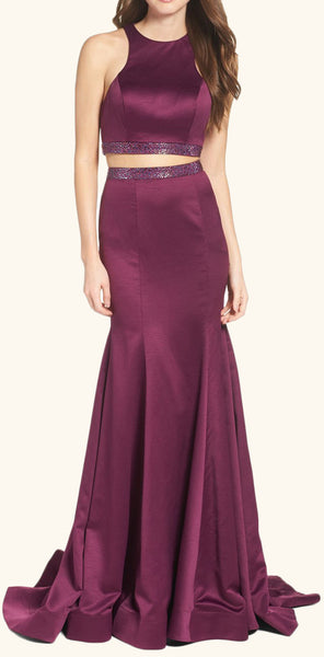 MACloth Mermaid 2 piece Prom Dress Purple Formal Evening Gown