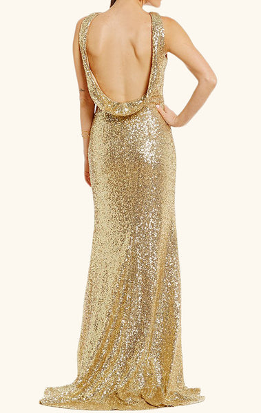 MACloth Halter Sequin Prom Dress with Slit Gold Formal Evening Gown