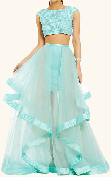 MACloth Two Piece Cap Sleeves Tulle Prom Dress Turquoise Formal Gown