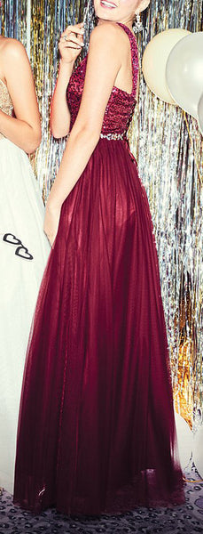 MACloth O Neck Sequin Tulle Long Prom Dress Burgundy Formal Evening Gown