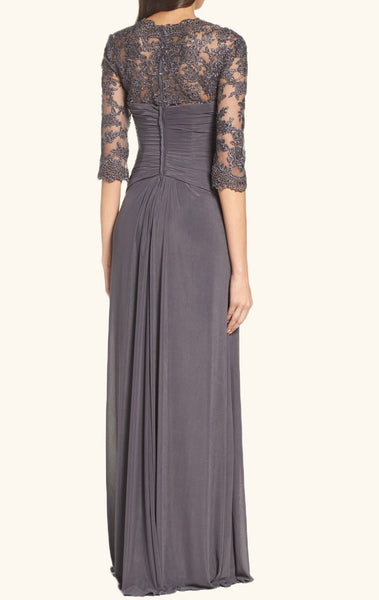 MACloth Half Sleeves Gray Evening Gown Long Mother of the Brides Dress