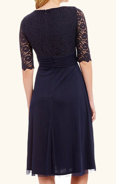 MACloth Half Sleeves V Neck Lace Mother of the Brides Dress Dark Navy Cocktail Dress