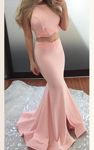 MACloth Two Piece Mermaid Jersey Prom Dress Pink Formal Evening Gown