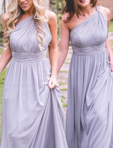 MACloth One Shoulder Long Bridesmaid Dress Chiffon Lavender Formal Gown