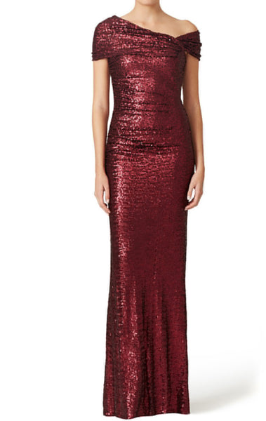 MACloth Off the Shoulder Sheath Sequin Formal Gown Burgundy Evening Dress