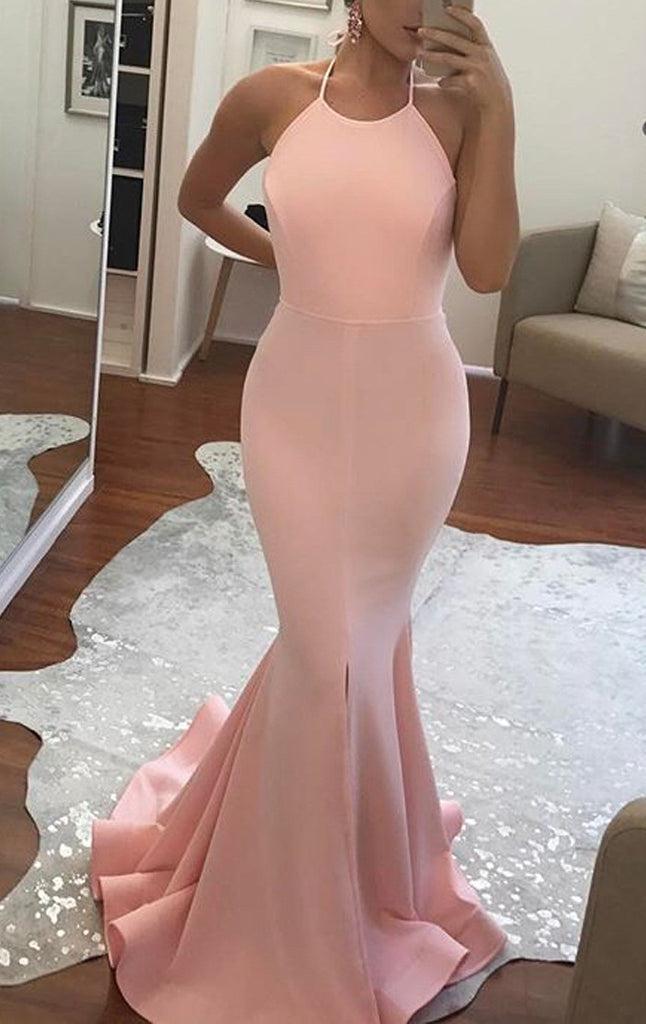 MACloth Mermaid Halter Jersey Long Prom Dress Pink/Yellow Formal Gown