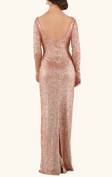 MACloth Long Sleeves Sequin Maxi Bridesmaid Dress Rose Gold Formal Evening