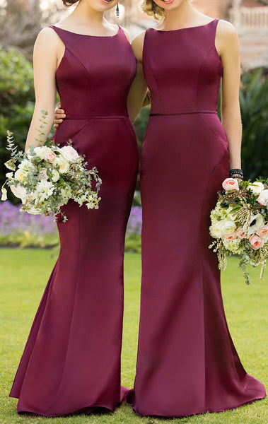 MACloth Burgundy Long Bridesmaid Dress Satin Formal Gown