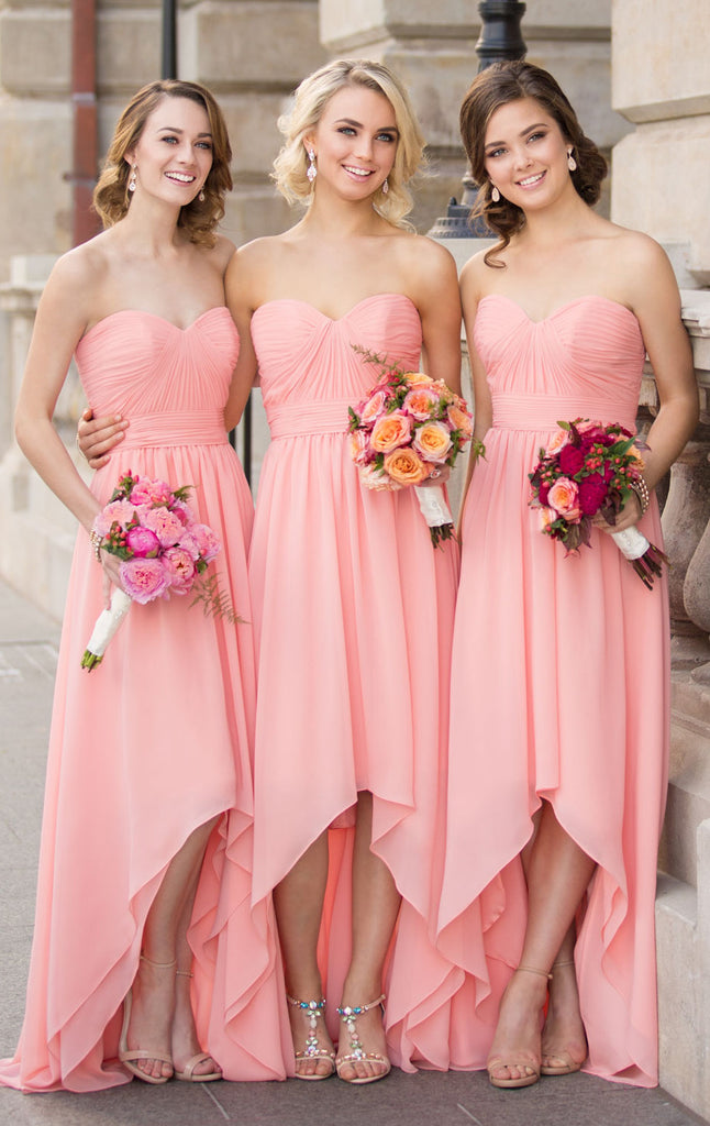 MACloth Strapless Chiffon High Low Bridesmaid Dress Pink Formal Gown