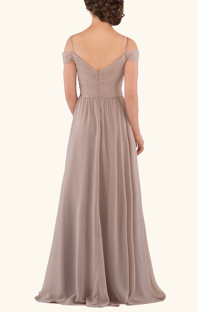 ec95c28a06fd ... MACloth Off the Shoulder Chiffon Bridesmaid Dress V Neck Champagne  Formal Gown ...