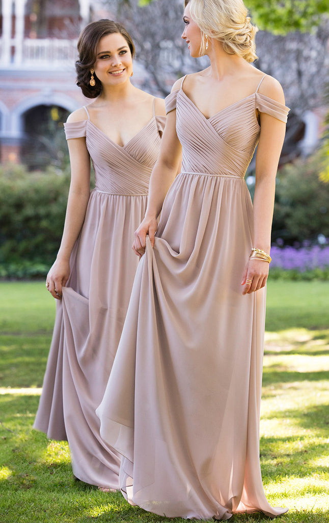 bc1f6acf8c48 MACloth Off the Shoulder Chiffon Bridesmaid Dress V Neck Champagne For