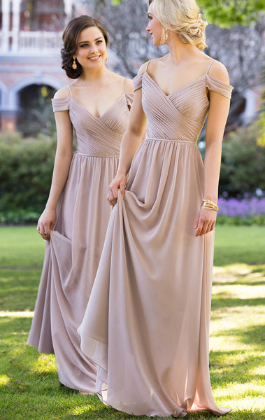 MACloth Off the Shoulder Chiffon Bridesmaid Dress V Neck Champagne Formal Gown