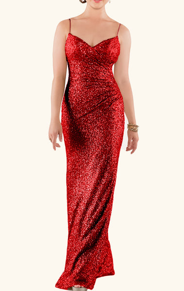 MACloth V Neck Sequin Long Bridesmaid Dress Wedding Party Formal Gown