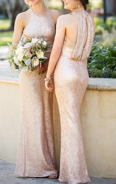 MACloth High Neck Sequin Long Bridesmaid Dress Blush Formal Gown