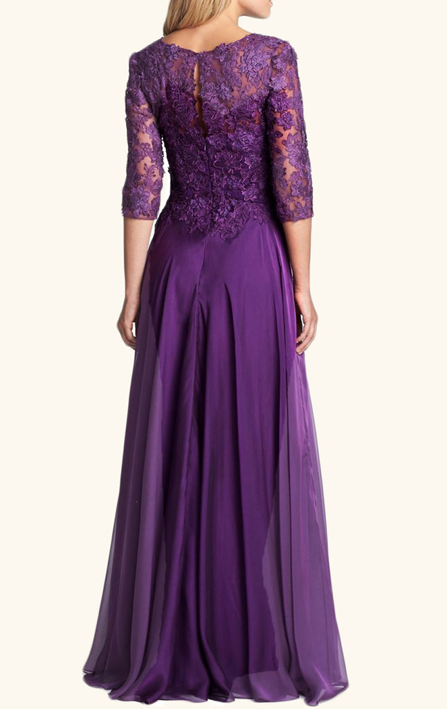 ... MACloth Half Sleeves Lace Chiffon Long Mother of the Brides Dress  Purple Formal Evening Gown ...