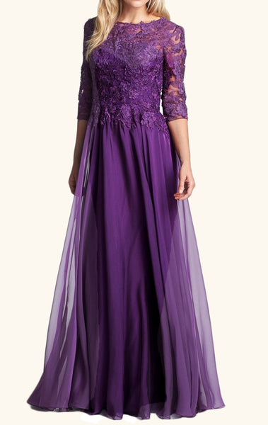 MACloth Half Sleeves Lace Chiffon Long Mother of the Brides Dress Purple Formal Evening Gown