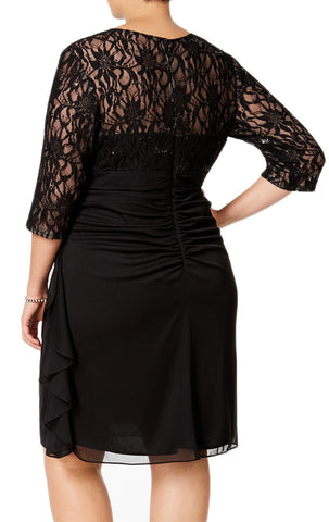 MACloth Half Sleeves Lace Chiffon Midi Cocktail Dress Black Mother of the Brides Dress