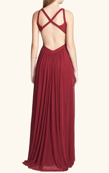 MACloth Halter Chiffon Burgundy Long Prom Dress Simple Formal Party Gown