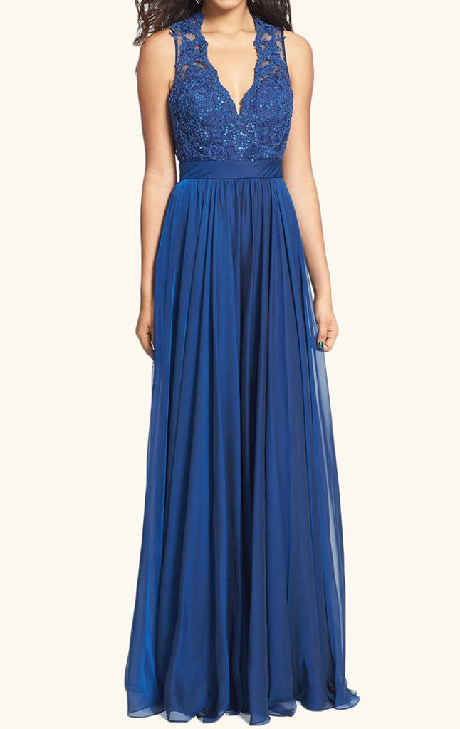MACloth Straps V neck Lace Chiffon Long Prom Dress Royal Blue Formal Gown