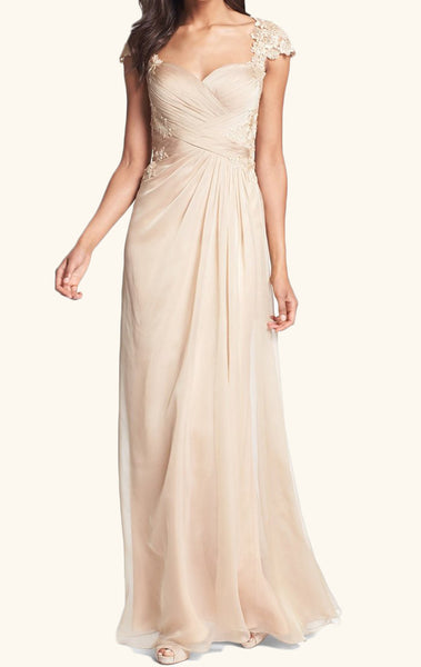 MACloth Cap Sleeves Lace Chiffon Long Mother of the Brides Dress Champagne Wedding Party Formal Gown