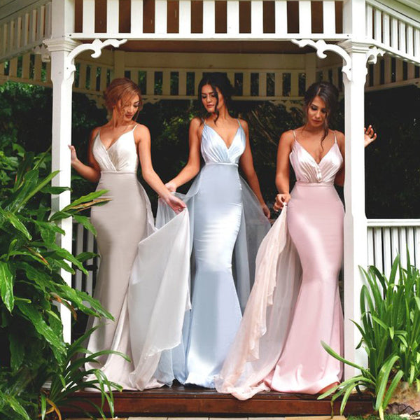 MACloth Mermaid V Neck Long Bridesmaid Dress Pink Prom Formal Gown