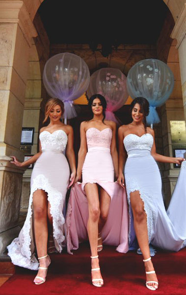 MACloth Mermaid Long Bridesmaid Dress with Slit Strapless Jersey Prom Gown