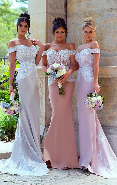 MACloth Off the Shoulder Long Bridesmaid Dress Lace Jersey Wedding Party Formal Gown
