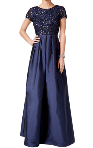 MACloth Cap Sleeves Sequin Taffeta Evening Gown Dark Navy Mother of the Brides Dress