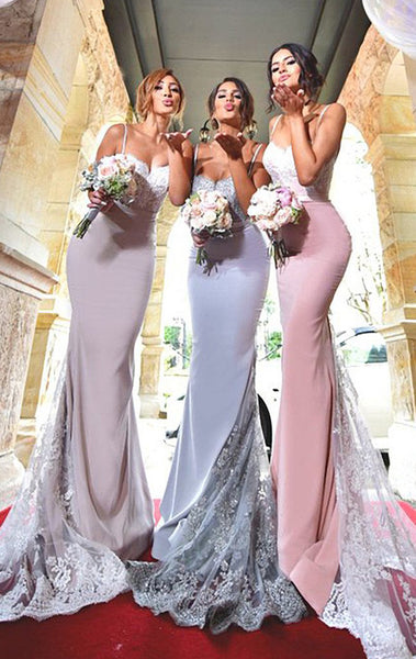 MACloth Mermaid Lace Jersey Long Bridesmaid Dress Pink Wedding Party Formal Gown